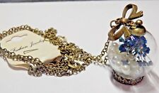 Cute Fashion Jewelry Chain with a See Through Ball w Dried Flowers & White Beads