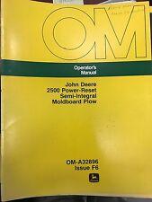 John Deere Op Manual 2500 PowerReset SemiIntegral Moldboard Plow#Oma32896 Used