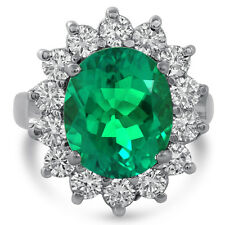 14K White Gold Oval Cut Synthetic Emerald & Diamonds Ring EMR103