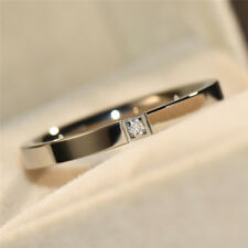 Color Zirconia Couple Band Rings Fashion Simple Stainless Steel Silver/Rose Gold