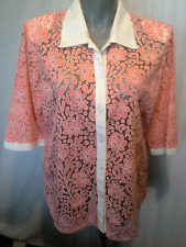 Ladies Womens 3/4 Sleeve Button Up Shirt Blouse Top Sheer Orange Floral Size 18
