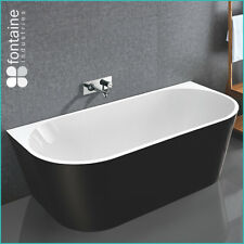 Back to Wall Bath Tub Bathtub Black Elegant Bathroom 1500 Modern Luxury