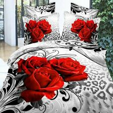 Alicemall 3D Flower Bedding Sets Queen 3 Red Roses 4P Duvet Cover