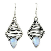 Natural Rainbow Moonstone 925 Sterling Silver Dangle Earrings D16054