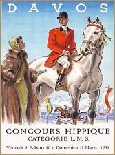 Davos Switzerland Concours Hippique Horse Show Travel Advertisement Poster