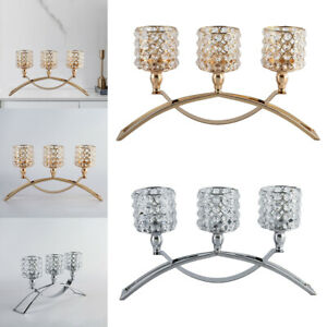 3 Arms Crystal Candle Holder Candlestick Candelabra Table Rooms Centerpiece