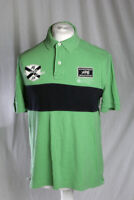 Tommy Hilfiger Polo Shirt Green Blue Stripe Men's Size M Rugby Style VGC!