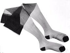 """Vintage Sheer Black Silk Stockings, 10"""" Foot"""