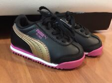 Puma Roma Baby Girl Infant Tennis Shoes. Black Pink Gold. Cute. BARELY WORN