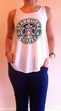 Starbucks COFFEE T-shirt Canotta Canottiera Top Donna Ragazze Nuovo