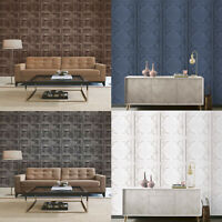 Fine Decor/Arthouse Rustic Wood 3D Effect Panel Wallpaper 10m 4 Colours