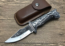 OEM Carving Blade Ebony Wood Handle Back Lock Camping Folding knife A3189