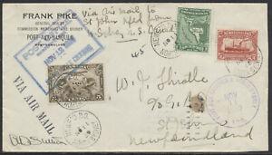1930 AAMC #3065a N. Sydney NS to Newfoundland Flight, Pilot Signed, Dual Franked