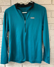 Shebeest Cycling Jersey Long Sleeve Quarter Zip Shirt Large Teal Stretch USA