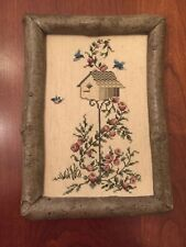 Vintage Birdhouse Completed Counted Cross Stitch Picture Custom Framed