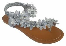 Women's New Gladiator Rhinestone Flower T-Strap Flat Sandal Thong Shoes Sz 5-10