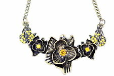 Goth vintage punk style bronze leaf and flower chain necklace