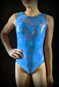 """GK Elite Gymnastics Leotard """"Blue Waves"""" Holographic Foil Size AS"""