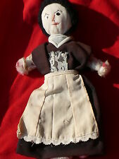 Vintage One-Of-A-Kind Rag Doll Punch Needle Signed w Housekeeper Maids Clothing