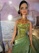 BARBIE EXOTIC BEAUTY GORGEOUS BRUNETTE IN GREEN SATIN FORMAL WITH GOLD ACCENTS