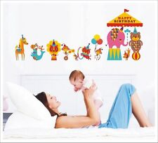 Kids Removable Vinyl Wall Stickers -- Happy Birthday Colourful Circus SA-12-051