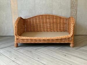 Large Luxury Wicker Dog Bed Handmade Settee Sofa Style With Legs
