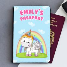 Personalised Unicorn Rainbow & Love Hearts Kids Children's Passport Holder Cover