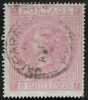 1867 SG Z88 5s Rose Plt 1 Very Fine Used Abroad in Valparaiso Chile C30 CV £675+
