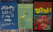 Sergio Zuniga Sketchbooks Lot of 3 NYC Subway Drawing Doodles Sensor Trip VF/+