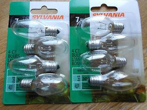 8 'SYLVANIA' CLEAR NIGHT LIGHT BULBS- 2 Packs with 4 Bulbs in each Pack (7W)