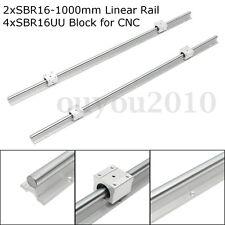 Support Linear Rail Shaft Guide SBR16-1000mm 2 rails + 4x SBR16UU Blocks for CNC