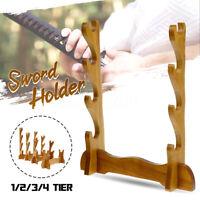 1/2/3/4Tier Samurai Katana Sword Holder Display Hanger Bracket Wall-mounted Rack
