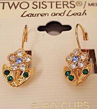 NWT TWO SISTERS Lauren and Leah Rhinestone Flower EURO Clip Pierced Earrings