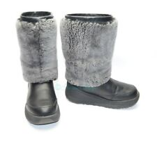 Women's UGG® Australia Marien Thinsulate Boots Fur Black Gray Leather Size 6M