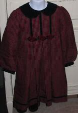 Vintage 1970's Girl's 6X Bonnie Jean New York Red Blue Plaid Rayon School Dress