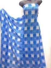 Designer Blue / White Check Print Chiffon Fabric Dress Craft wedding
