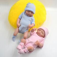 "11"" Mini Twins Reborn Baby Doll Full Silicone Handmade Lifelike Girl Bath Toy"