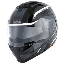 1Storm DOT Motorcycle Modular Full Face Helmet Flip up Dual Visor Tron White
