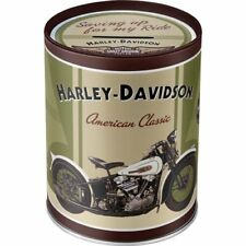 Tirelire (money Box) Metallique ronde Harley-davidson Knucklehead