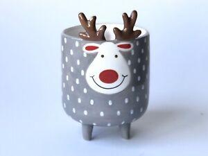 Christmas Reindeer Plant Pot Flower Cactus Succulent Decoration Ceramic Glaze Nw