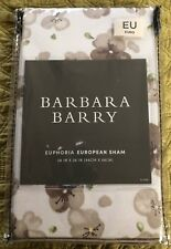 Barbara Barry Euphoria Shadow Euro Pillow Sham Floral Taupe White Nwt