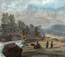 SERVOZ ROAD TO CHAMONIX FRANCE Watercolour Painting ELIZABETH CAMPBELL 1822