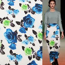 Blue and green Big rose print pure silk Crepe DE chine silk fabric 138cm,SCDC586