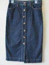 BODEN DENIM SKIRT PENCIL Dark Blue Festival Boho Stretchy  Sz 8 L
