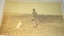 Rare Antique Victorian Outdoor Hunter & Pet Dog! Shotgun! Landscape CDV Photo!