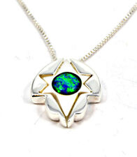 """Jewish Star of David pendant Messianic necklace 925 silver with Opal 18"""" Israel"""