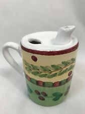 Caleca Red and Green Cherry Pattern Creamer or Syrup Pitcher