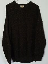 Carraig Donn Brown Mens Chunky 100% Wool Sweater Size XL Made in Ireland