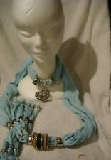 jewelled scarf in pale blue with silver heart covered in crystals