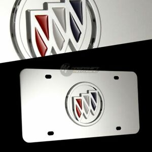 3D Buick Logo Front Mirror Finish Stainless Steel License Plate Frame AUTHENTIC